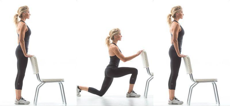sandalye ile ters lunge